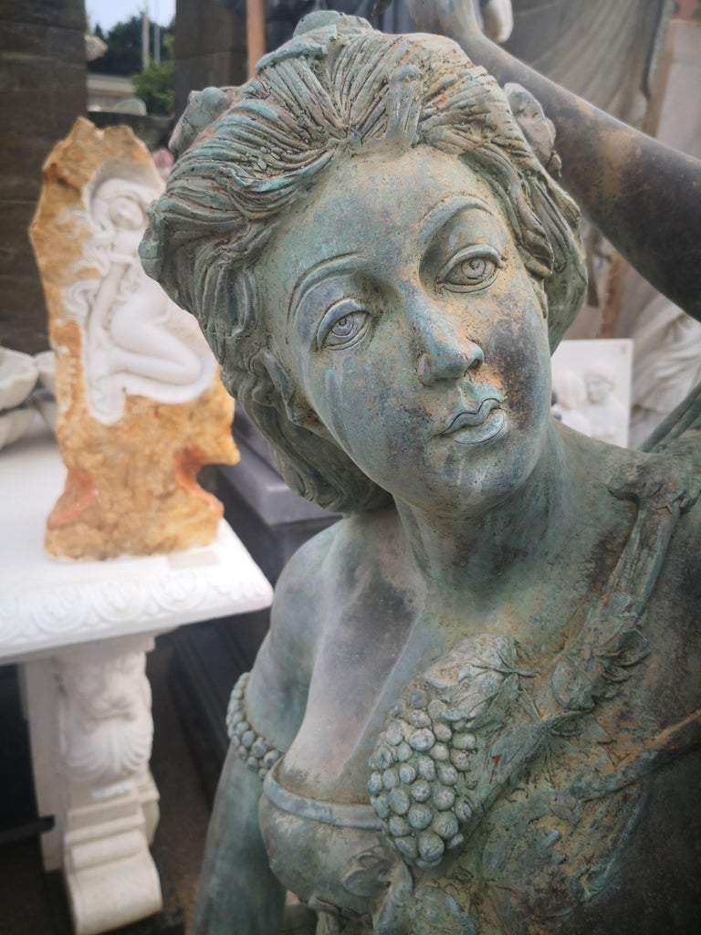 Life-Size Bronze Sculptures of Two Ladies and a Cherub For Sale 8