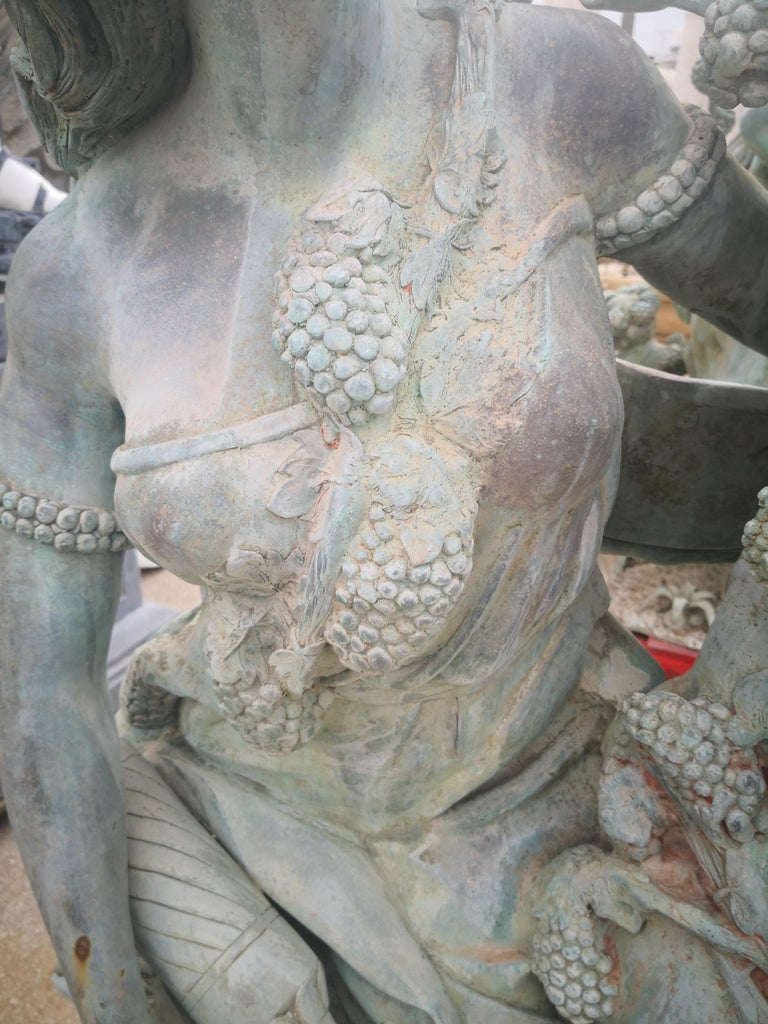 Life-Size Bronze Sculptures of Two Ladies and a Cherub For Sale 9