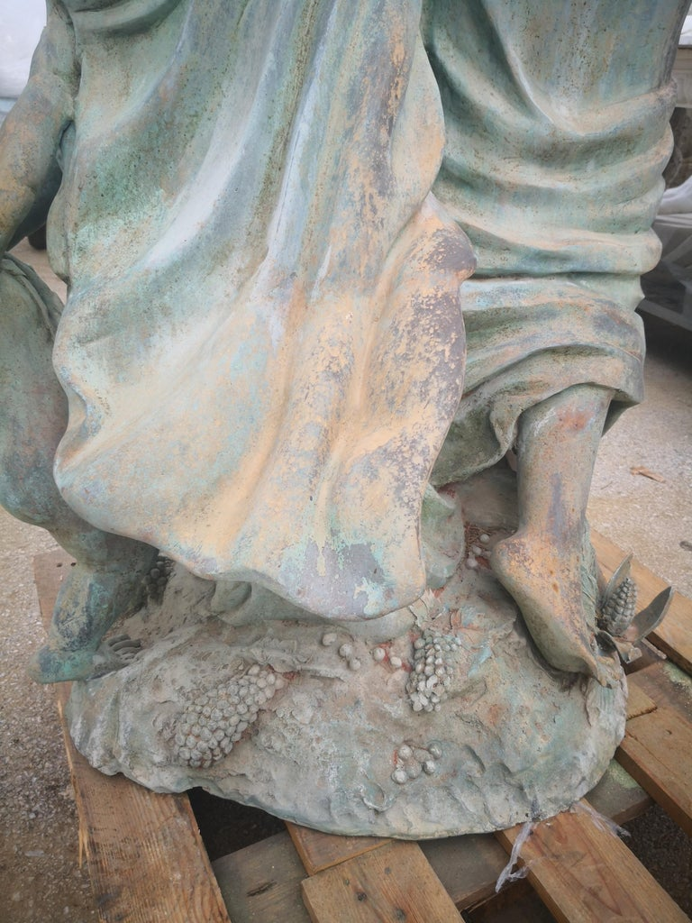 Life-Size Bronze Sculptures of Two Ladies and a Cherub For Sale 4