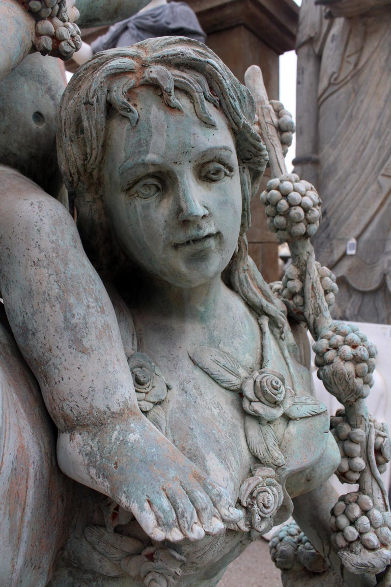 Life-Size Bronze Sculptures of Two Ladies with Cherubs For Sale 7