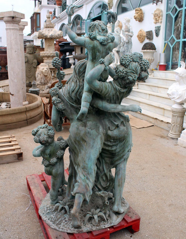 Spanish Life-Size Bronze Sculptures of Two Ladies with Cherubs For Sale