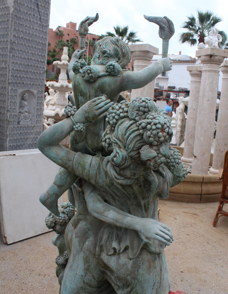 Life-Size Bronze Sculptures of Two Ladies with Cherubs For Sale 1