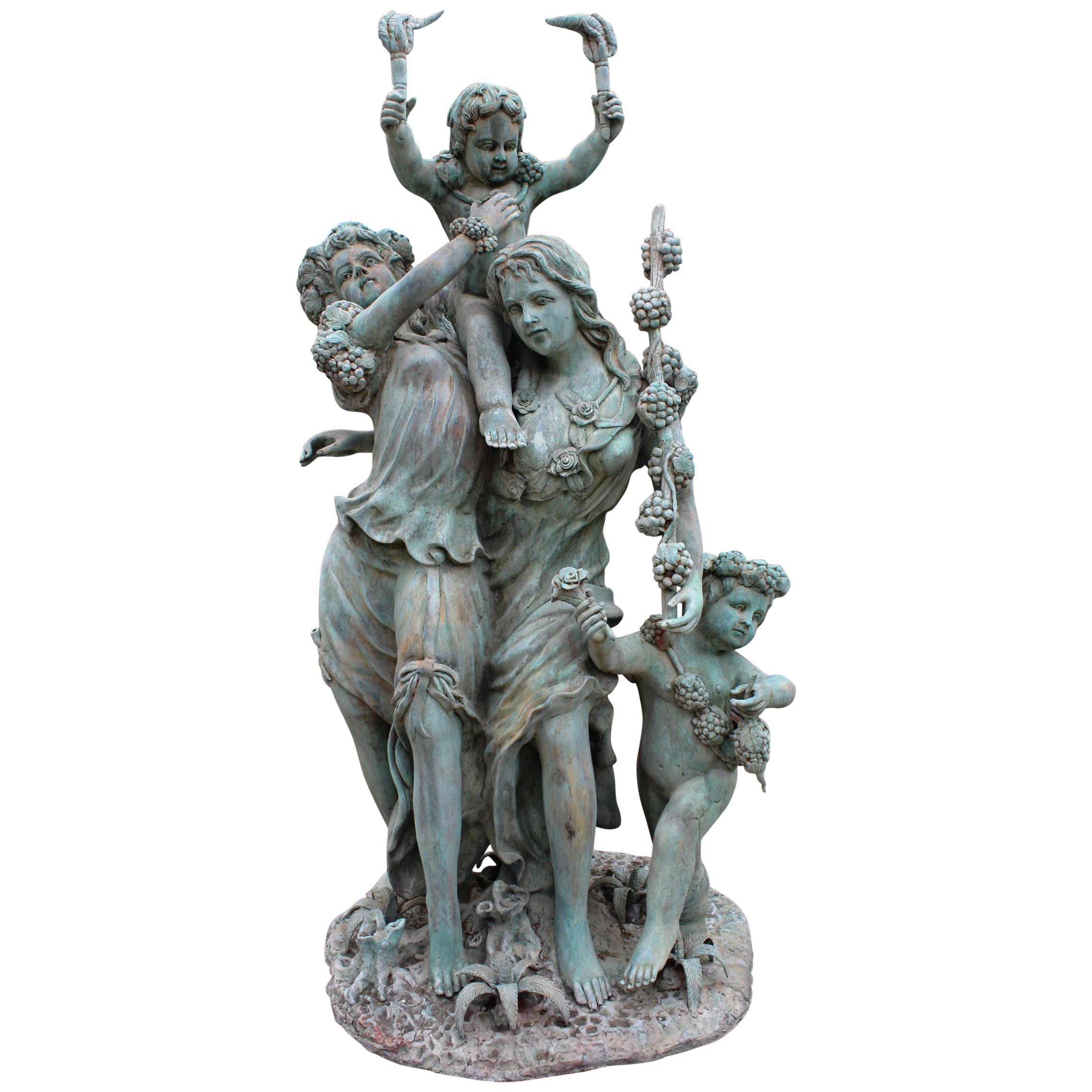 Life-Size Bronze Sculptures of Two Ladies with Cherubs