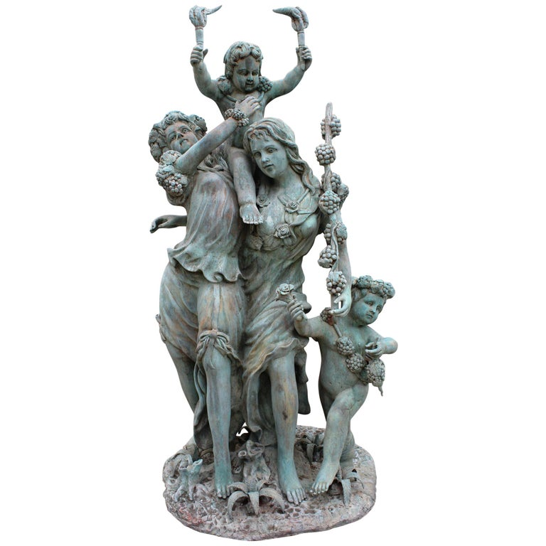 Life-Size Bronze Sculptures of Two Ladies with Cherubs For Sale