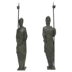 Life-Size Bronze Statue Sculpture Middle Ages Knight in Armor, a pair