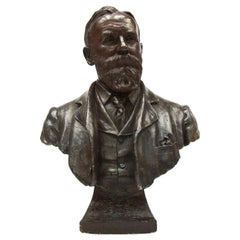 Life-Size Bronzed Presidential Plaster Bust of 20th Century Edwardian Gentleman