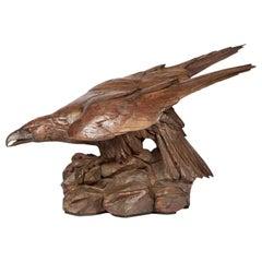 Life-Size Carved Linden Wood Eagle