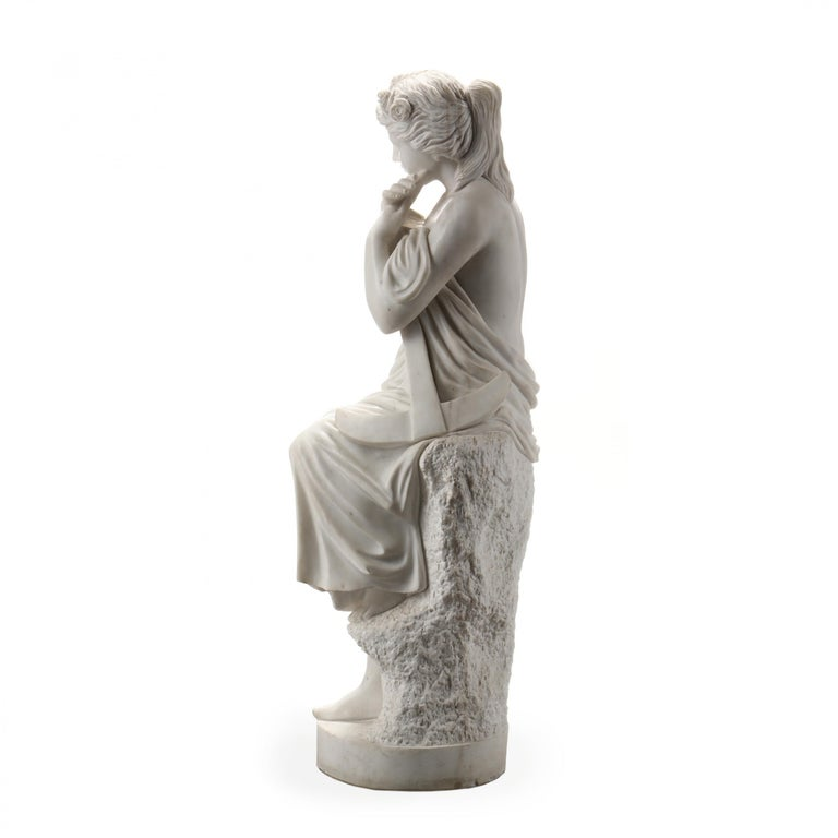 Classical Roman Life-Size Carved Marble Allegorical sculpture of Hope For Sale