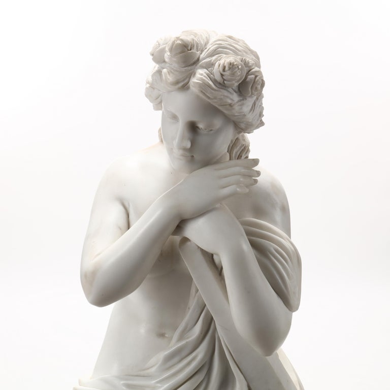 Italian Life-Size Carved Marble Allegorical sculpture of Hope For Sale
