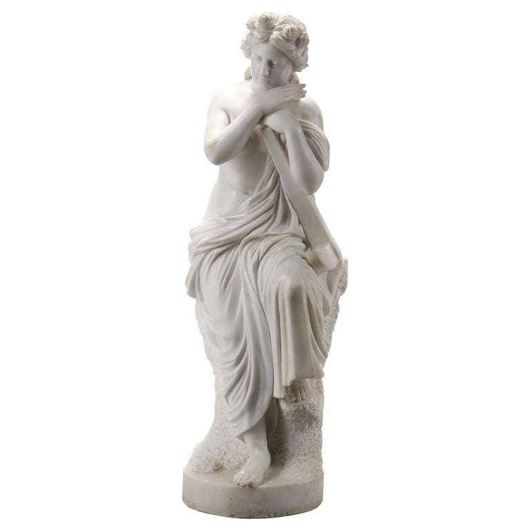 Life-Size Carved Marble Allegorical sculpture of Hope For Sale
