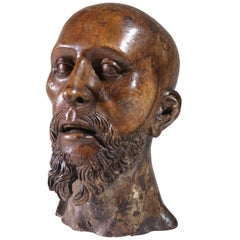 Life-Size Carved Wood Sculpture of a Man's Head circa 1700 South European