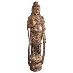 Life Size Carved Wood Statue of K'wan Yin