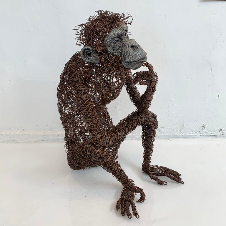 Life-Size Chimpanzee Metal Sculpture In Good Condition In Los Angeles, CA