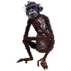Life-Size Chimpanzee Metal Sculpture