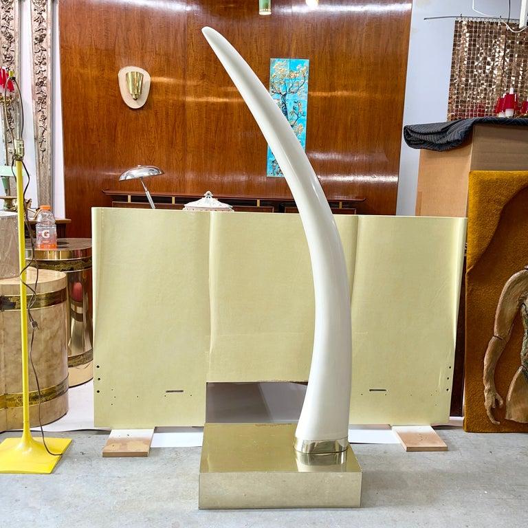 Life-Size Faux Elephant Tusk Sculpture For Sale 5