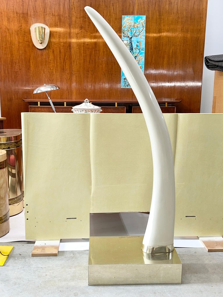 Hollywood Regency Life-Size Faux Elephant Tusk Sculpture For Sale