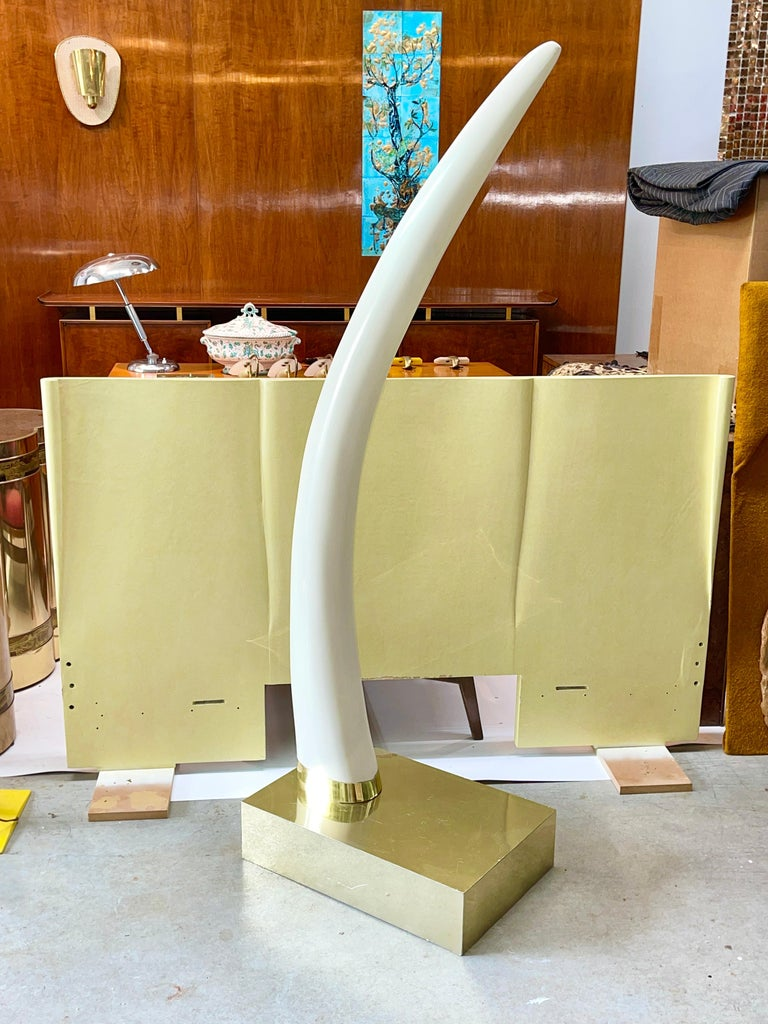 Life-Size Faux Elephant Tusk Sculpture In Good Condition For Sale In Hingham, MA