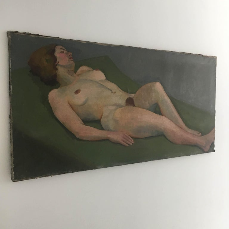 Canvas Life Size Female Painting, Vienna 1933 For Sale
