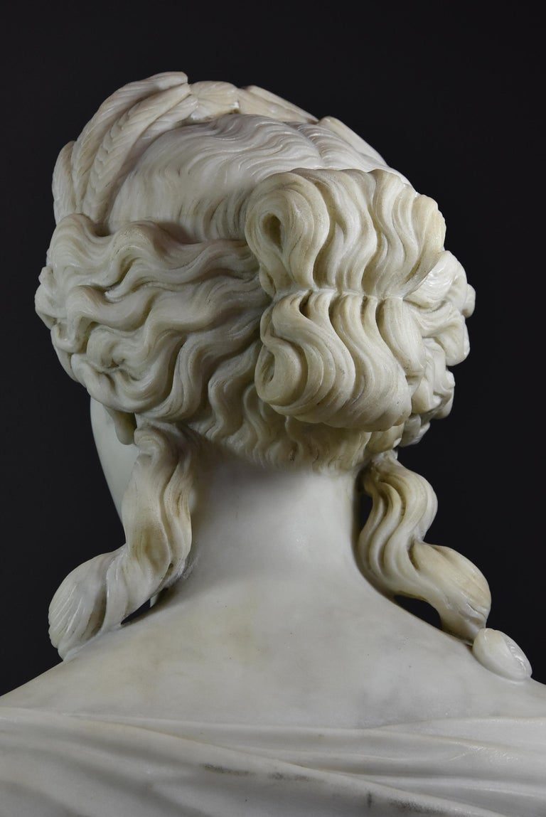 Life-Size Finely Carved Carrara Marble Bust of the Roman Goddess, Ceres For Sale 4