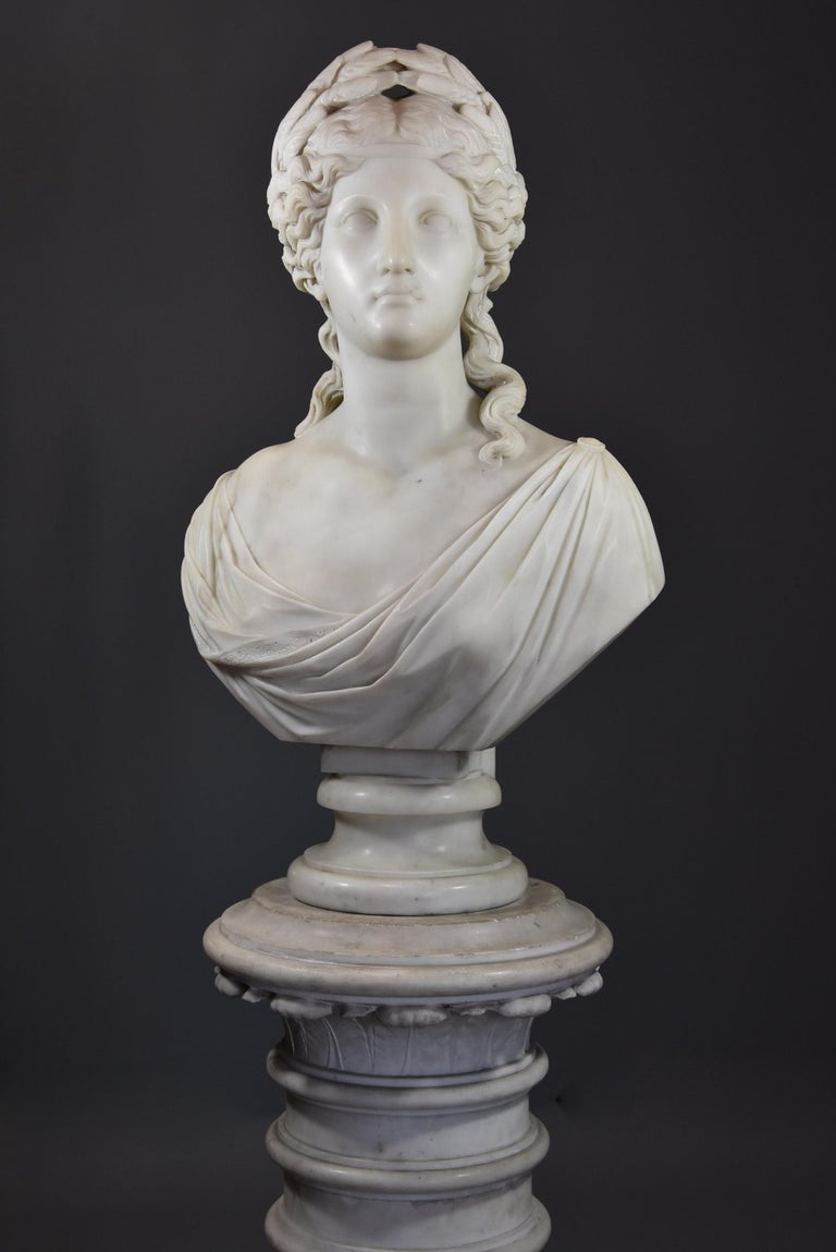 Classical Roman Life-Size Finely Carved Carrara Marble Bust of the Roman Goddess, Ceres For Sale