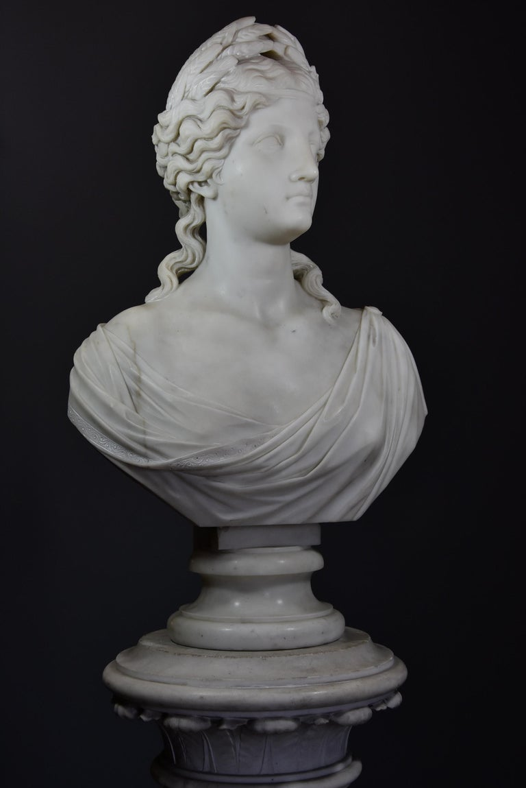 Italian Life-Size Finely Carved Carrara Marble Bust of the Roman Goddess, Ceres For Sale