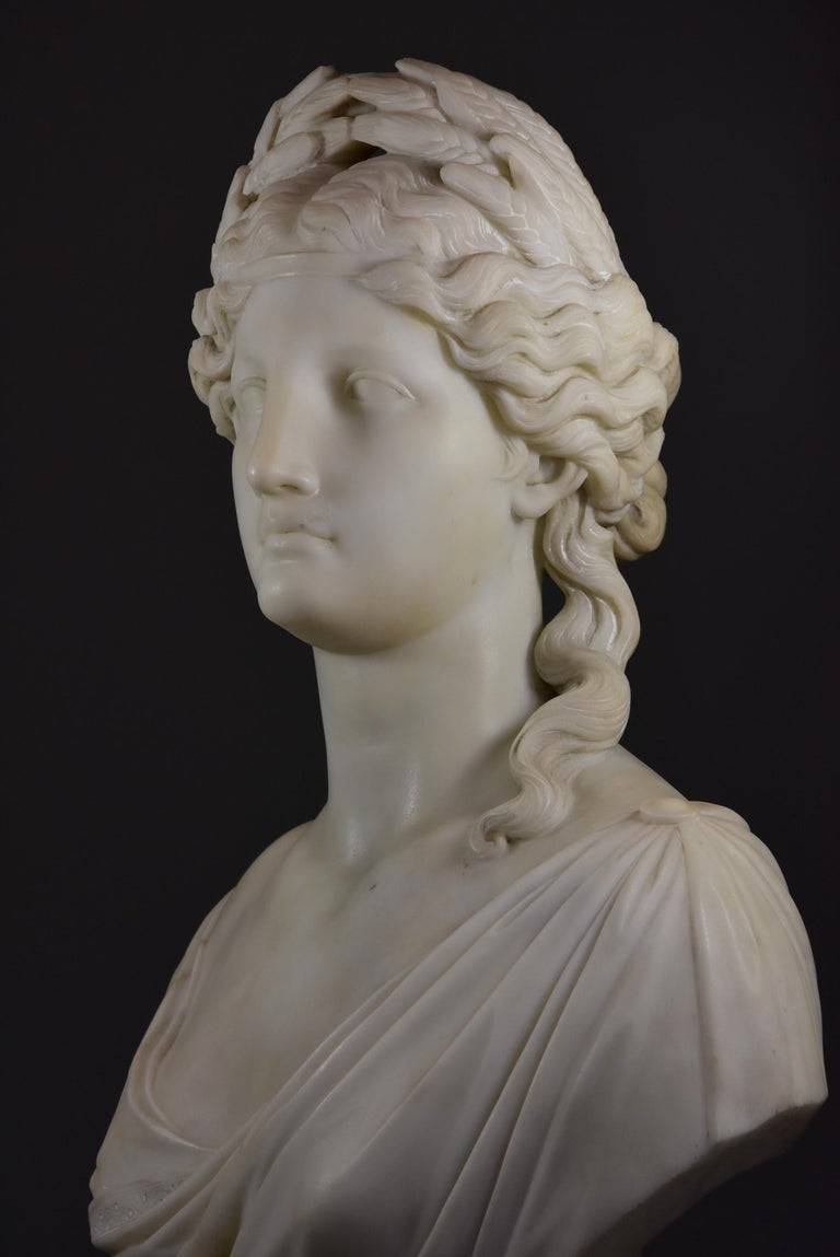 Life-Size Finely Carved Carrara Marble Bust of the Roman Goddess, Ceres In Good Condition For Sale In Suffolk, GB
