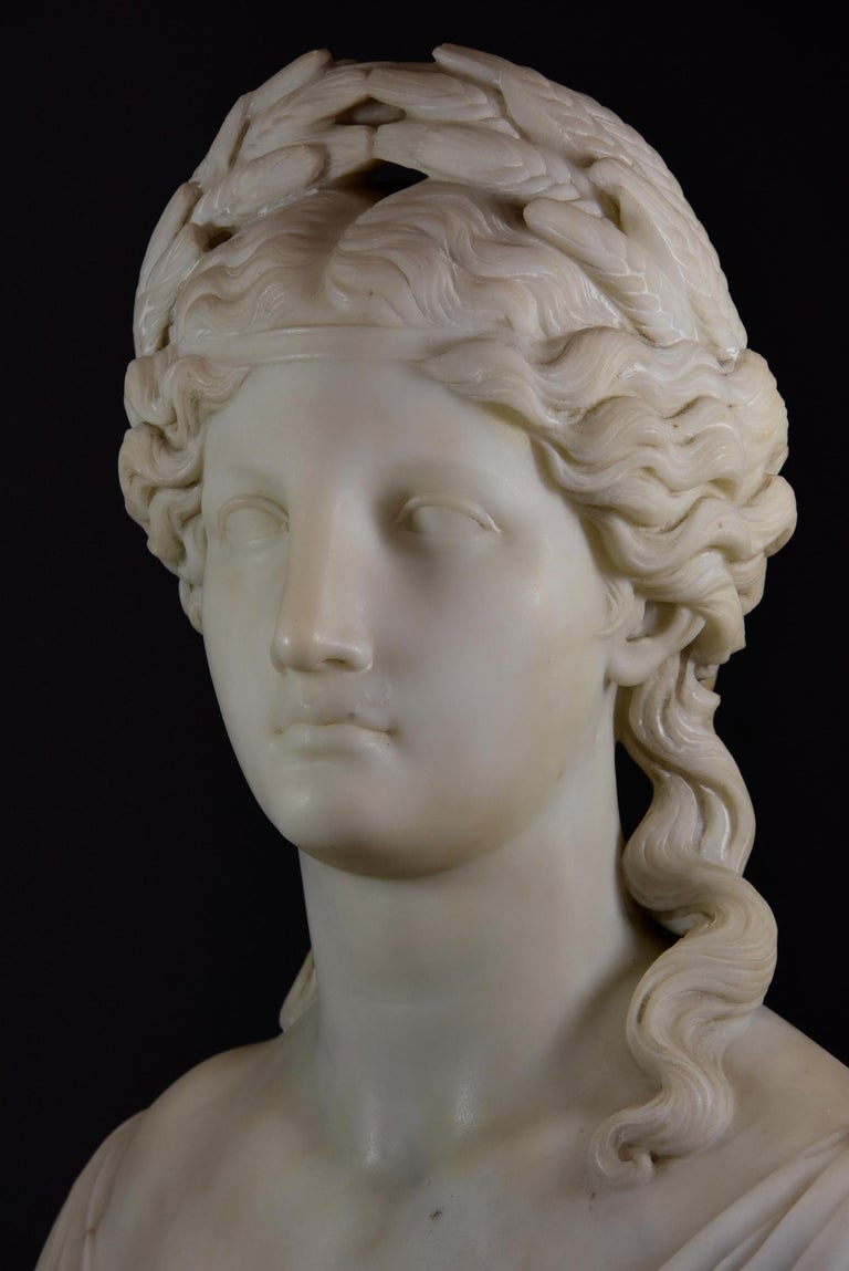 19th Century Life-Size Finely Carved Carrara Marble Bust of the Roman Goddess, Ceres For Sale