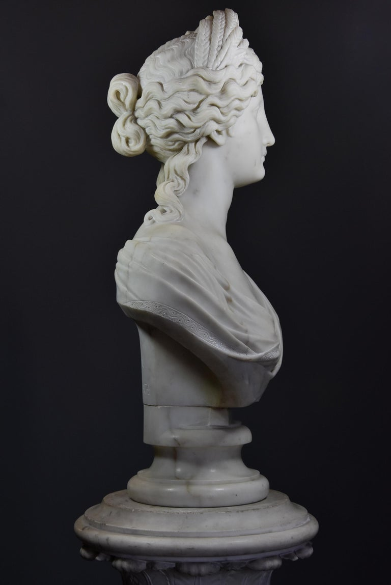 Life-Size Finely Carved Carrara Marble Bust of the Roman Goddess, Ceres For Sale 1