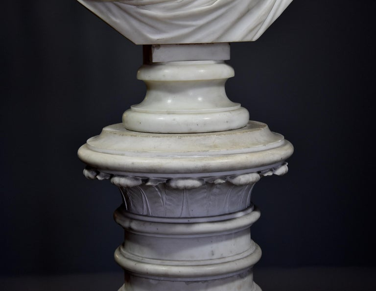 Life-Size Finely Carved Carrara Marble Bust of the Roman Goddess, Ceres For Sale 2