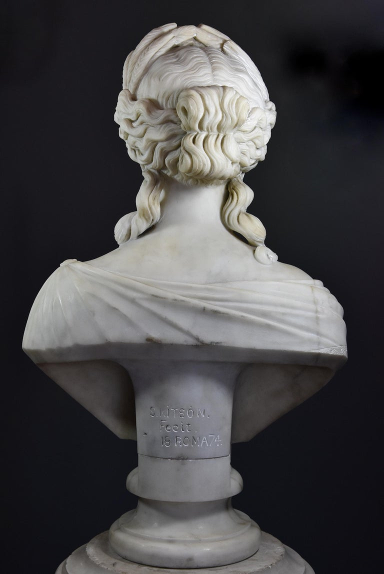Life-Size Finely Carved Carrara Marble Bust of the Roman Goddess, Ceres For Sale 3