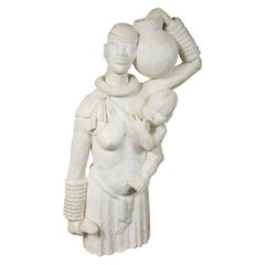 Life-Size French Africanist Style Plaster Sculpture of a Mother and Child