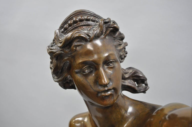 Art Deco bronze sculpture nude with bow Diana aiming