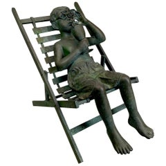 Life-Size Garden Bronze Sculpture of a Boy in a Beach Chair