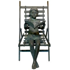 Life Size Garden Bronze Sculpture of a Girl in a Beach Chair
