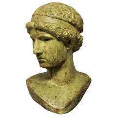 Life-Size Glazed Stone Head of a Hellenistic Youth