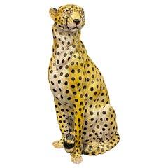 Life-Size Italian Cheetah Majolica Statue Figurine Vintage, 1960s