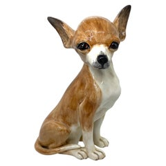 Life-Size Italian Chihuahua Majolica Ceramic Dog Statue Figurine Vintage, 1980s