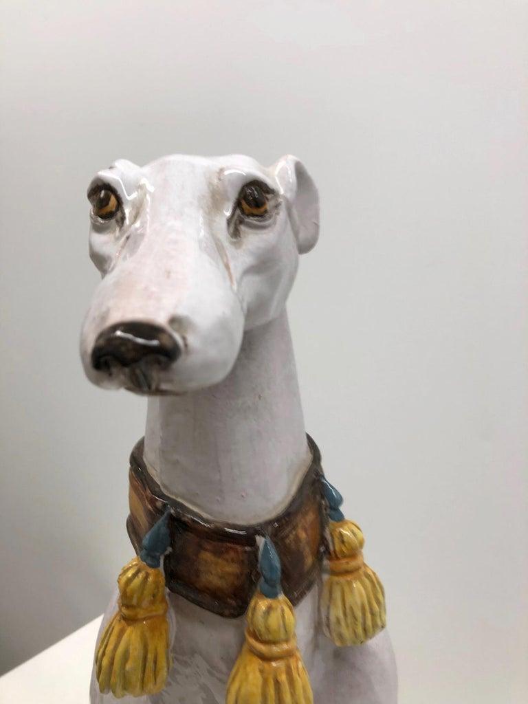Lebensgroße italienisches Windspiel Majolika Hund Statue Figur Vintage 1960er Jahre 12