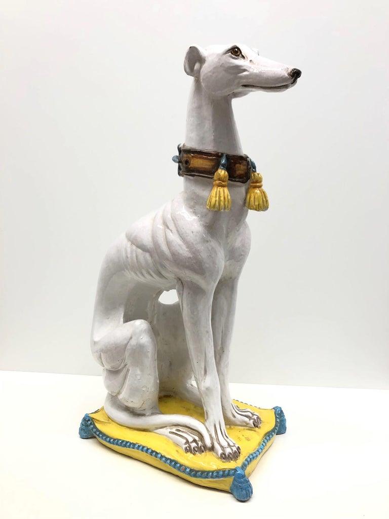 Lebensgroße italienisches Windspiel Majolika Hund Statue Figur Vintage 1960er Jahre 2