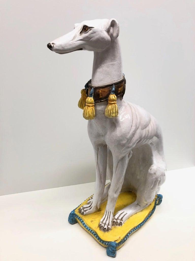 Lebensgroße italienisches Windspiel Majolika Hund Statue Figur Vintage 1960er Jahre 4