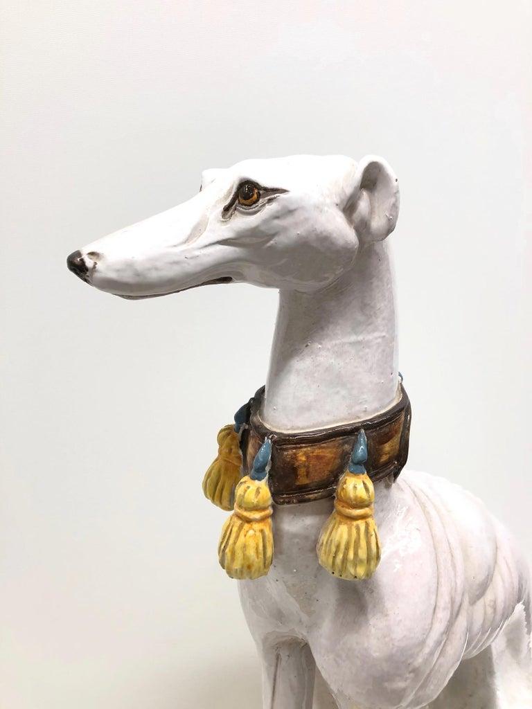 Lebensgroße italienisches Windspiel Majolika Hund Statue Figur Vintage 1960er Jahre 5