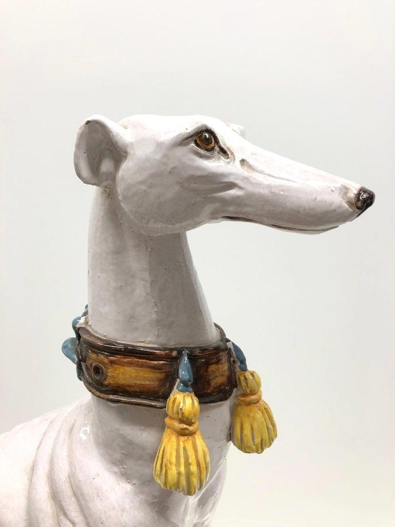 Lebensgroße italienisches Windspiel Majolika Hund Statue Figur Vintage 1960er Jahre 6
