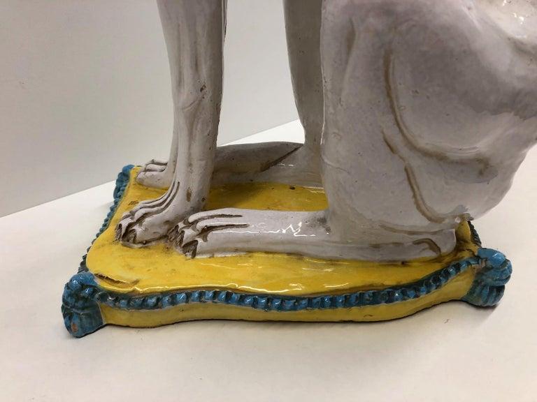 Lebensgroße italienisches Windspiel Majolika Hund Statue Figur Vintage 1960er Jahre 9