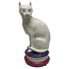 Life-Size Italian Majolica Cat Statue Figurine Vintage, Italy, 1950s