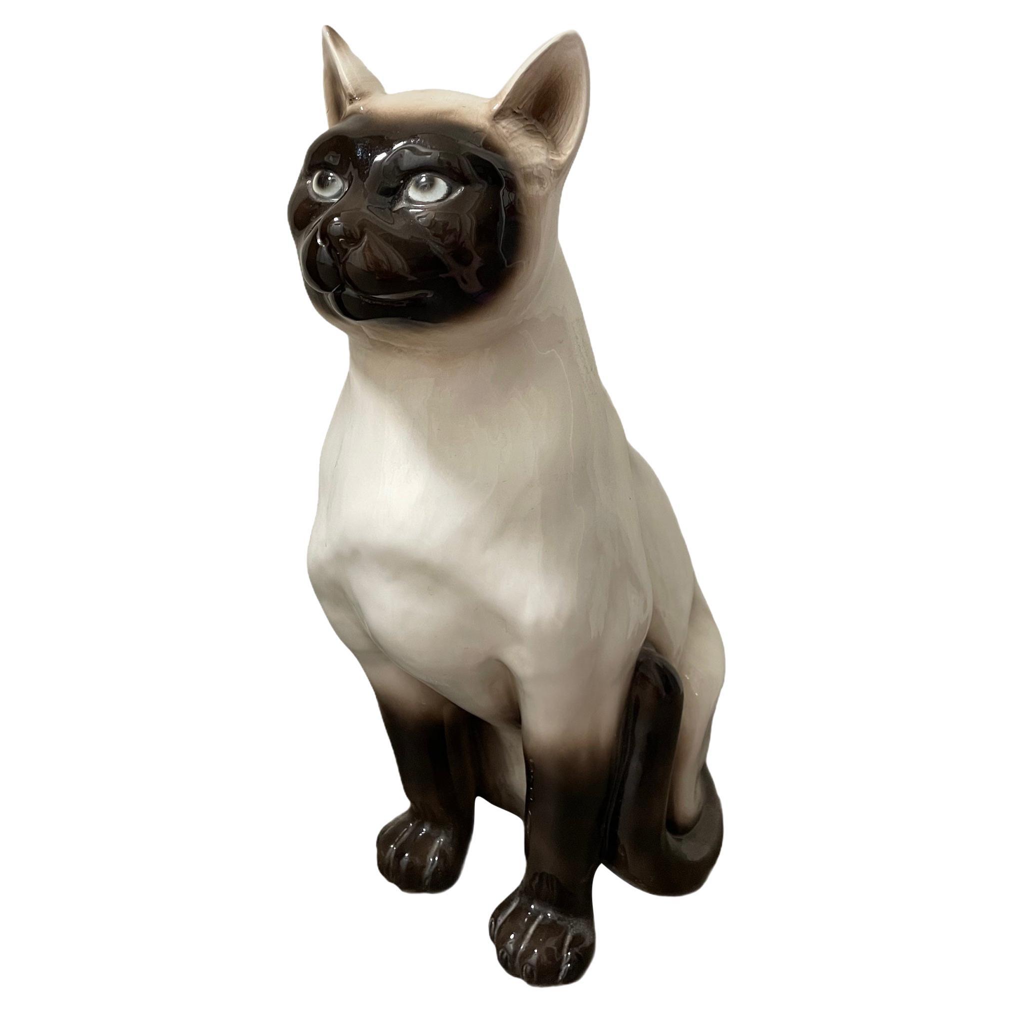 Life-Size Italian Siam Cat Majolica Ceramic Statue Figurine Vintage, 1970s