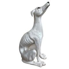 Life-Size Italian Whippet Greyhound Majolica Dog Statue Figurine Vintage, 1930s
