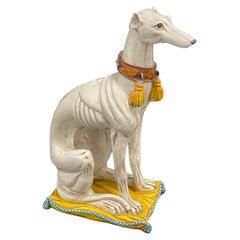 Life-Size Italian Whippet Greyhound Majolica Dog Statue Figurine Vintage, 1960s