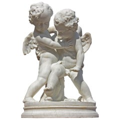 "Life-Size Marble of Eros and Anteros ""Two Loves Fighting for a Heart"""