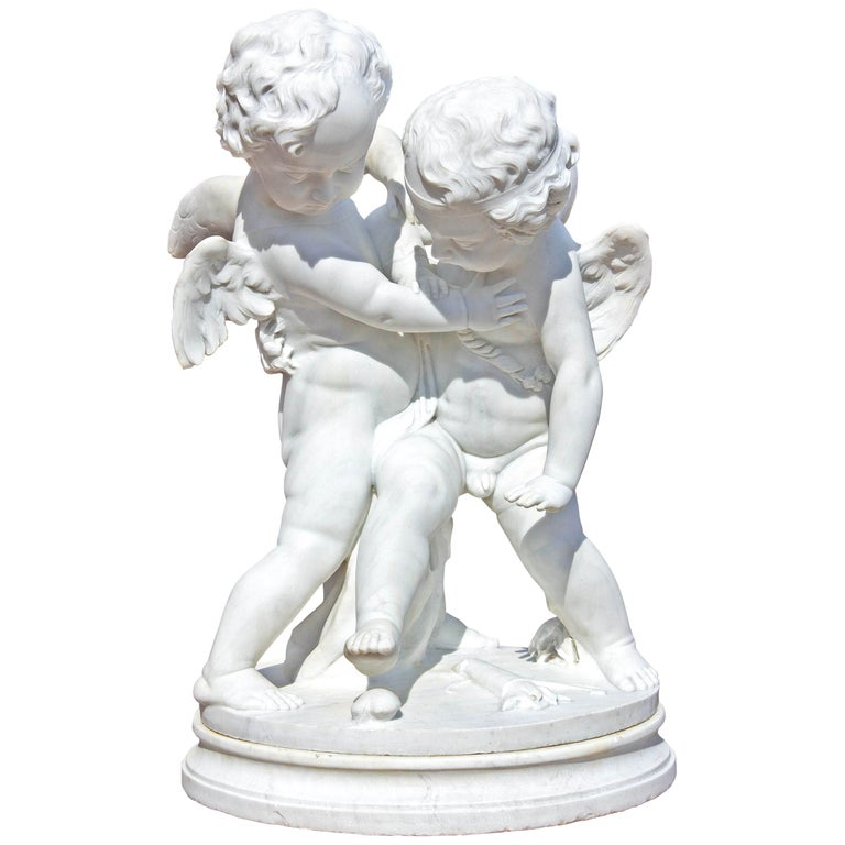 """Life-Size Marble of Eros and Anteros """"Two Loves Fighting for a Heart"""" For Sale"""