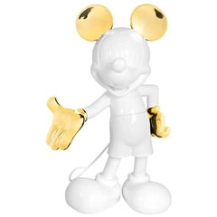 Life-Size, 4.6 Feet Tall Mickey Glossy White and Gold Pop Sculpture